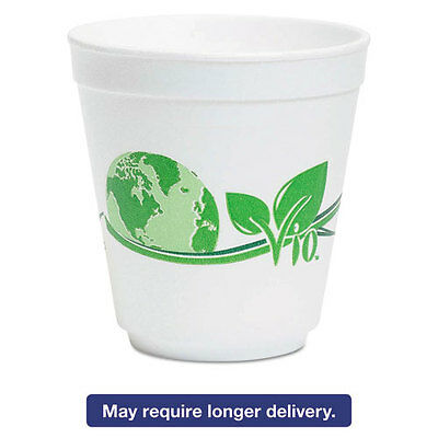 Vio Biodegradable Food Containers, 16 oz Bowl, Foam, White/Green, 500/Carton
