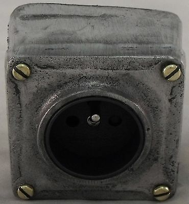 Vintage Industrial Style Cast Metal Single Euro Power Socket - BSEN Approved