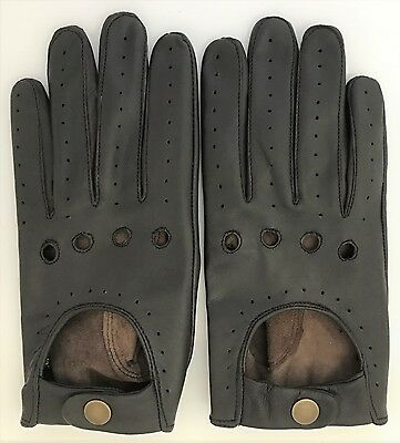 Handmade Soft Genuine Nappa Leather Dark Brown Driving Gloves Retro Chauffeur