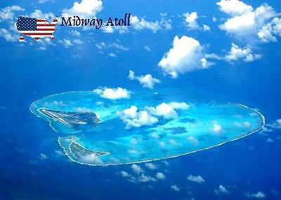 Midway Atoll Aerial View New Postcard