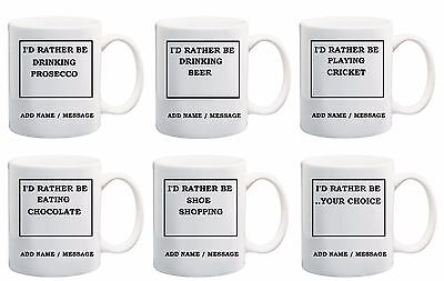 Personalised I'd Rather Be Mugs and Coasters, I'd Rather Be Mugs, I'd Rather be