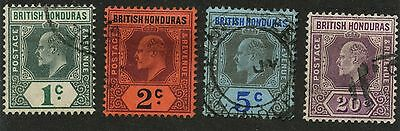 British Honduras 1902 KEVII issue set Wmk 2 Sc #58-61 used