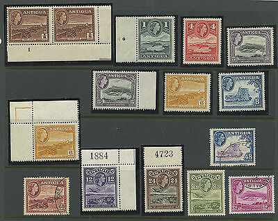 Antigua 1953 QEII issues 12 values Sc #107 to 120 MNH and used