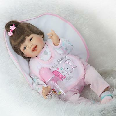 "22"" Lifelike Full Body Silicone Reborn Baby Doll Vinyl Newborn Baby Girl Dolls"