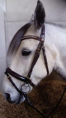 English Leather Padded Comfort Bling Bridle Dressage Soft Reins Brown Cob & Pony