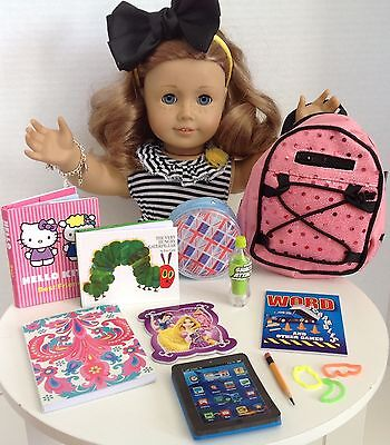 """Sequin Backpack & School Supplies for American Girl Doll 18"""" Accessories SET"""