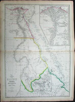 Egypt Nubia Abyssinia Red Sea Sudan Ethiopia Sinai c.1860 folio Weller map