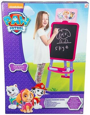 Kids Childrens Paw Patrol Floor Standing Easel Two Sided White Chalk Board Girls