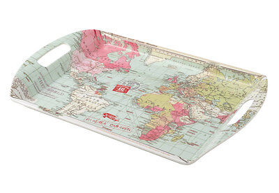 Large Melamine Voyager World Map Serving Tray Handles TV Dinner Breakfast In Bed