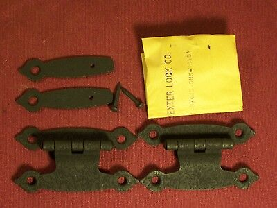 Pair of Vintage Strap Iron Butterfly Cabinet Hinges Primitive Hardware Rustic