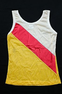 Vtg 1980s Mesh Tank Top Youth Large red/yellow/white gym PE track
