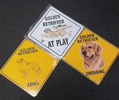 3 - New Metal Golden Retriever Yard Signs - Indoor or Outdoor - Wall Plaque Dog
