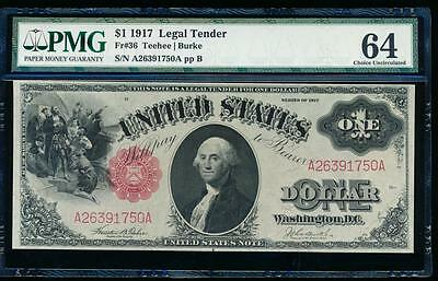 AC Fr 36 1917 $1 Legal Tender PMG 64 uncirculated !!!