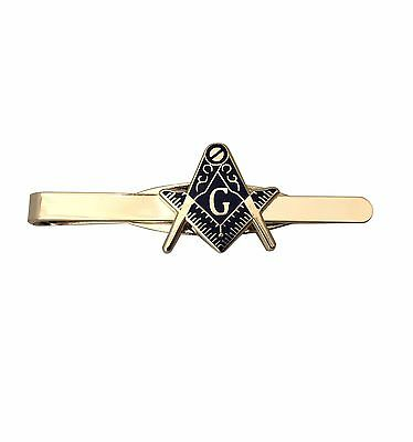 Masonic Mason Tie Pin Bar Freemason Compass Gold Plated Gift Present