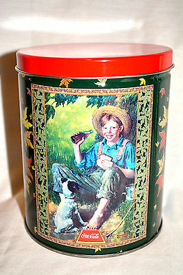 1998 Coca~Cola tin puzzle boy dog eating under tree NEW unsealed
