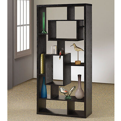 New Contemporary Black Wood Wall Recessed Bookcase Asymmetrical Book Shelves