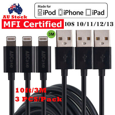 3x 10ft Apple MFI Certified Lightning to USB Data Charger Cable For iPhone X 8 7