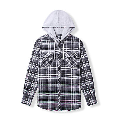 25d566f6293c Men's Casual Check Long Sleeve Lined Flannel Shirt with Hood MFA6420113