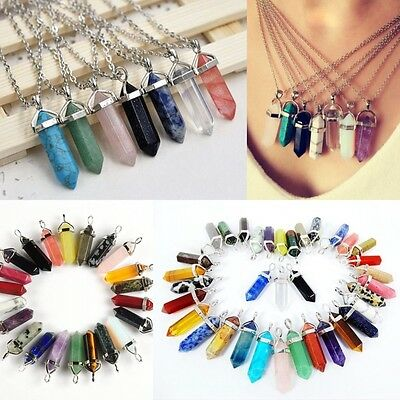 Gemstone Natural Stone Crystal Quartz Healing Point Chakra Pendant Necklace b15
