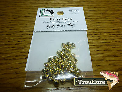 Hareline Brass Eyes Large Gold Dumbbell - New Streamer Wet Fly Tying Materials