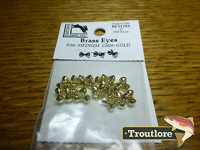 Hareline Brass Eyes Medium Gold Dumbbell - New Streamer Wet Fly Tying Materials
