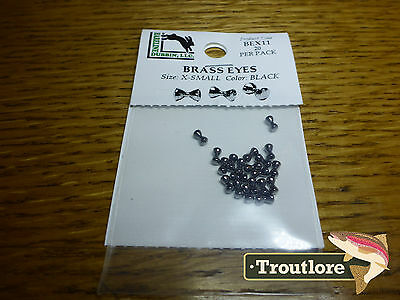 Hareline Brass Eyes Extra Small Black Dumbbell New Streamer Fly Tying Material