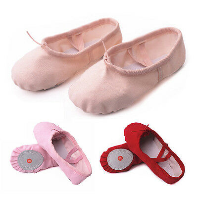 Girls Kids Toddler Gymnastic Ballet Canvas Dance Shoes Flat Slippers Split Sole