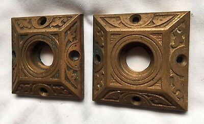 Pair Antique Brass Cabinet Door Knob  Back Plates  Decorative  Vtg Old 65-17J