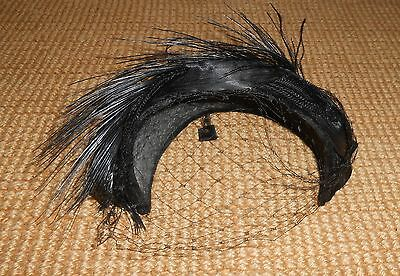 Vintage Ladies Stylish Black Feathered Hat W/veil Ca 1950's