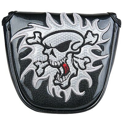 New Black Skull MALLET Putter Cover Headcover For Scotty Cameron Odyssey 2ball