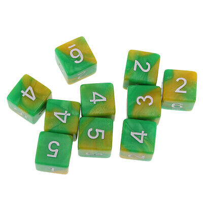 10pcs Six Sided Dual Colored D6 Dices for D&D Casino Poker Dice Guessing Games