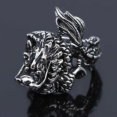 Size8-11 Vintage Men Stainless Steel Punk Rock Dragon Shape Ring Band Jewelry