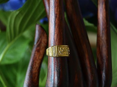 Antique Chinese DRAGON Qing Dynasty 24k 9999 Gold RING  Band size 6 3/4