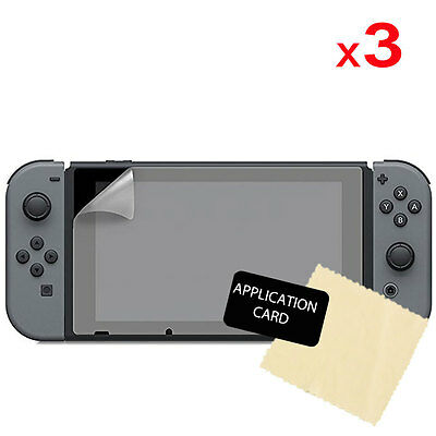 3x Clear LCD Screen Protector Guard Covers + Cloth for Nintendo Switch Console