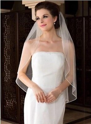 Bridal Wedding Ivory Veil 1 Tier With Comb Handmade Crystal Rhinestone Edge