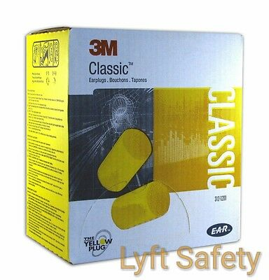 3M E-A-R Classic Ear Plugs Noise Reduction 29dB Yellow Foam Disposable 10/PACK