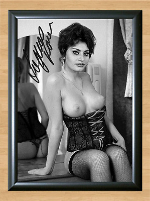 Sophia Loren Italian Lingerie Busty Signed Autographed A4 Photo Print Poster