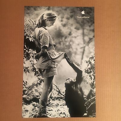 2000 original APPLE THINK DIFFERENT promo poster--JANE GOODALL--11x17--mint NEW