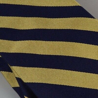 Silk Mens Necktie Brooks Brothers Wide Diagonal Stripe Gold Navy 58 Inch Classic