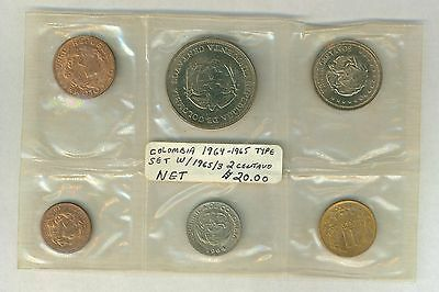 Colombia 6 coin mint set 1964-1965 in original packaging