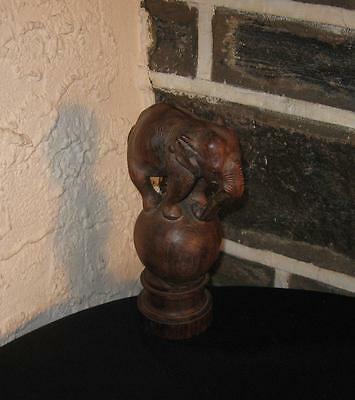 """ELEPHANT"" On a ball like Newel post? Carved walnut wood Beautiful item"