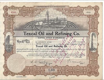 Texcal Oil And Refining Co.......1923 Stock Certificate