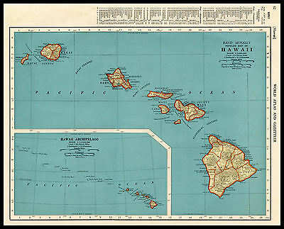 HAWAII Islands Maui Oahu Kauai U.S. State 1941 antique color lithograph Map