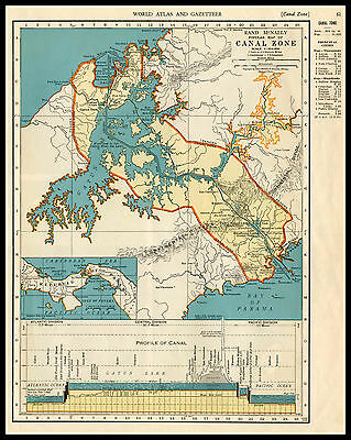 PANAMA CANAL Gatun Lake Central South America 1941 antique color lithograph Map
