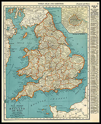 ENGLAND & WALES United Kingdom Europe 1941 antique color lithograph Map