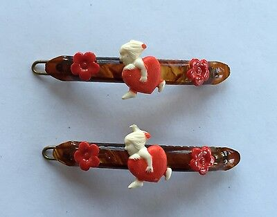 Vintage Hair Barrettes - Pair of Tortoise Shell barrettes (hand painted cupids)