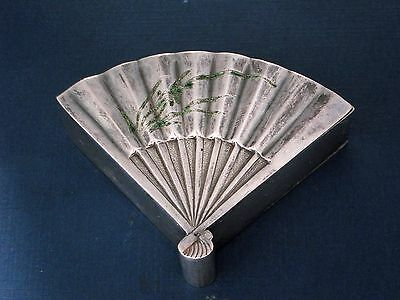Antique Japanese Silver & Enamel Snuff Fan Shaped Box Signed