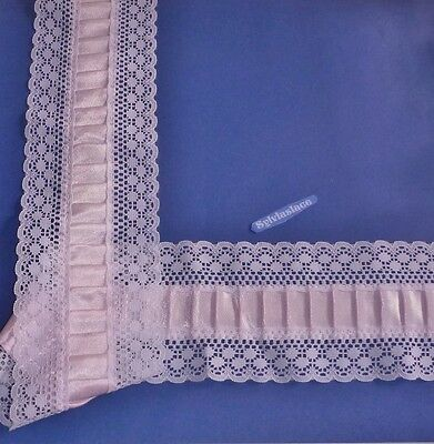 2  m  of   Pink  Double sided  Lace with  Box Pleated Ribbon  Insert  8 cm  Wide