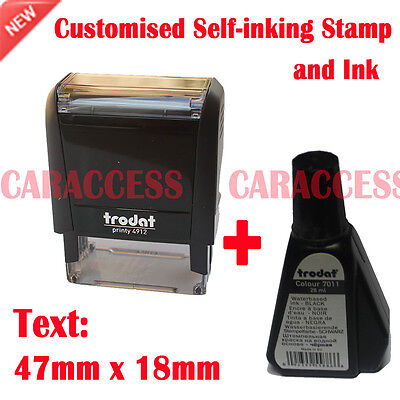 Customized Self Inking Rubber Stamp Business Name Address Logo 47x18mm + ink