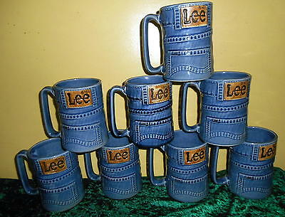 Set of 8 Retro Vintage Lee Jeans Large Tall Coffee Mugs Cups